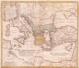 Old Map of Ancient Greece and the Eastern Mediterranean, 1741, Homann Heirs