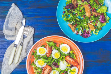 Concept of two healthy delicious salads