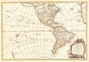 1762, Janvier Map of North America and South America, Sea of the West