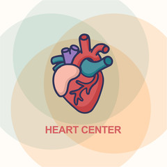 Heart Care logo. Healthcare & Medical logo concept. Vector illustration in cartoon doodle style