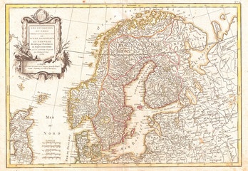 Fototapete - 1762, Janvier Map of Scandinavia, Norway, Sweden, Denmark, Finland