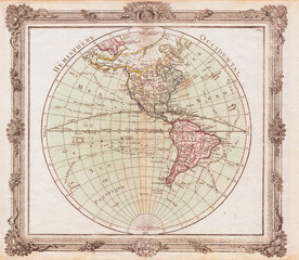1764, Brion de la Tour Map of the Western Hemisphere, North America and South America