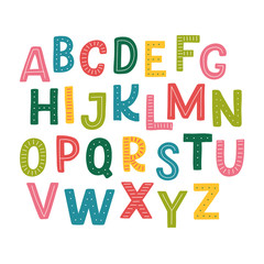 Cute hand drawn alphabet made in vector. Doodle letters for your design. Isolated characters. Handdrawn display font for DIY projects and kids design.
