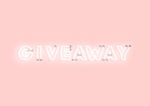 Giveaway pink neon electric letters illustration. Concept of advertising for seasonal offer with glowing neon text.
