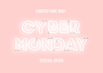 Cyber monday sale pink neon electric letters illustration. Concept of advertising for seasonal offer with glowing neon text.