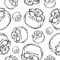 Skull. Seamless pattern. Handmade. Vector illustration. Coloring book page design