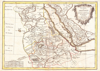 1771, Bonne Map of Abyssinia, Ethiopia, Sudan and the Red Sea, Rigobert Bonne 1727 – 1794, one of the most important cartographers of the late 18th century