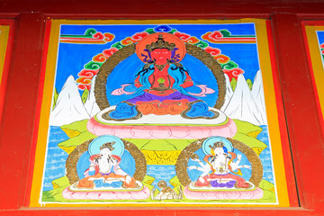Coloured drawing or pattern in the temple