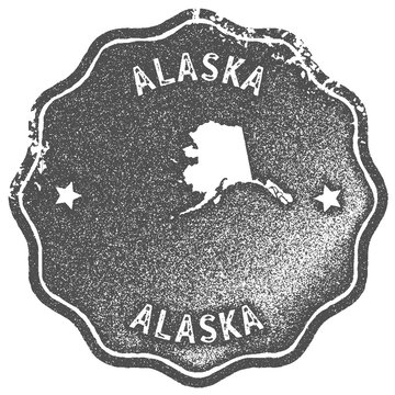 Alaska map vintage stamp. Retro style handmade label, badge or element for travel souvenirs. Grey rubber stamp with us state map silhouette. Vector illustration.