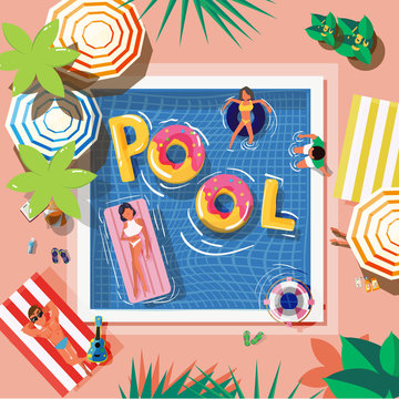 pool in top view with reading people and graphic elements - vector