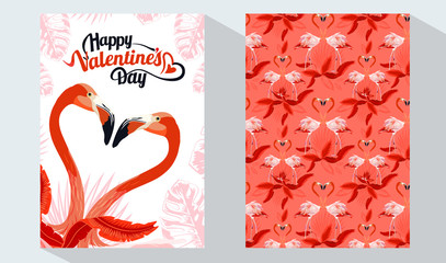 Happy Valentine's Day card set. Exotic flamingo and tropical palm leaves, plants, bird of paradise. Vector design templates. Design element for card, poster, banner, and other use.