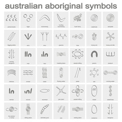 monochrome icon set with australian aboriginal symbols