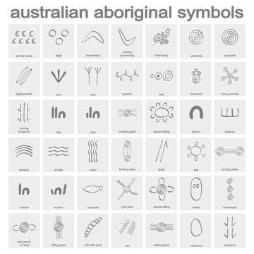 monochrome icon set with australian aboriginal symbols