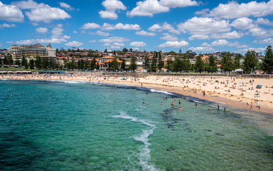 Top view of full of people Coogee beach in Sydney Australia