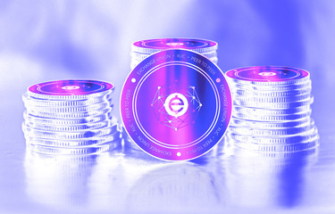 Exchange Union (XUC) digital crypto currency. Stack of coins. Cyber money.
