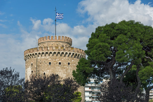 Ancient White Tower in city of Thessaloniki, Central Macedonia, Greece