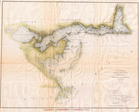 1853, U.S. Coast Survey Map of Lake Pontchartrain, New Orleans, and the Mississippi Delta