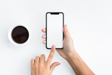 Woman using blank smartphone on white background