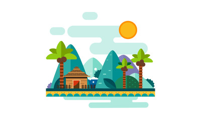 Beautiful tropical landscape, sand beach with palms, bungalow, mountains and sun vector Illustration