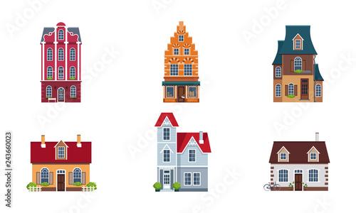 Building Facades Set Buildings Houses Cottages Of Different
