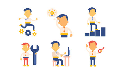 Flat vector set of icons with businessman in working actions. Office worker busy at work. Man in formal clothes