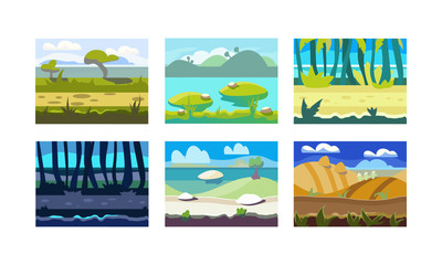 Flat vector set of seamless horizontal backgrounds for mobile or computer game. Colorful natural landscapes