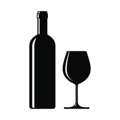 Wine bottle with wine glass icon isolated on white background. Vector illustration.