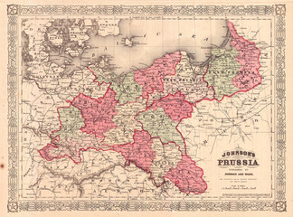 1866, Johnson Map of Prussia, Germany