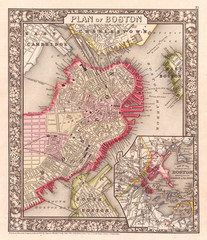 Wall Mural - 1866, Mitchell Map of Boston, Massachusetts