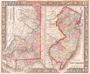 1866, Mitchell Map of New Jersey, Maryland, and Delaware