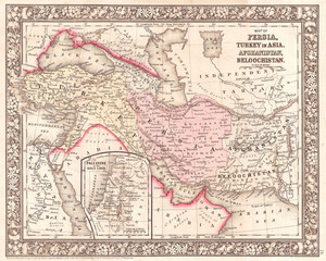 1866, Mitchell Map of Persia, Turkey and Afghanistan, Iran, Iraq