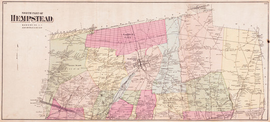 1868, Beers Map of Hempstead, Long Island, New York