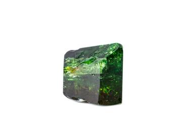 Macro mineral Chrome Dravite Tourmaline on a white background