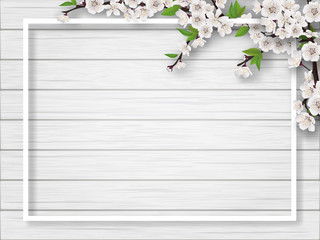 Frame with spring blossoming cherry branches on a white wooden background. Blank for advertising flyer or invitation card.