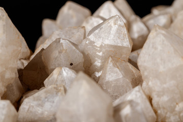 Macro Mineral Snow quartz Crystals on Black Background