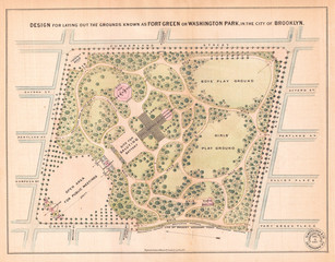 1868, Vaux and Olmstead Map of Fort Greene Park, Brooklyn, New York