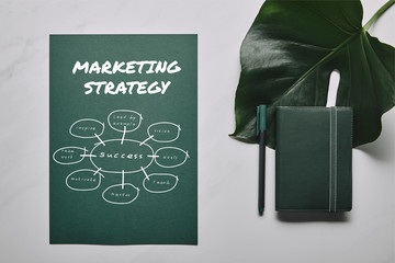 Green stationery set and monstera leaf on white marble background with marketing strategy icons