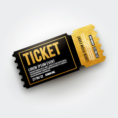 Vector ticket for Cinema, theater, concert, movie, performance, party, event festival. Realistic black and gold vip ticket template