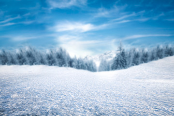 Winter background of free space and ice road