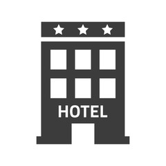 Hotel icon on white background.