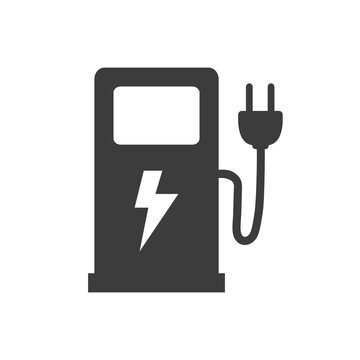 Electric fuel pump icon on white background.