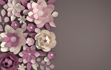 Paper elegant pastel colored flowers on brown background. Valentine's day, Easter, Mother's day, wedding greeting card. 3d render digital spring or summer illustration in paper art style.