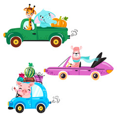 Set of kids transport with llama, giraffe, elephant, pig and pumpkin. Cute animals ride on the car.  Vector illustration isolated on white background