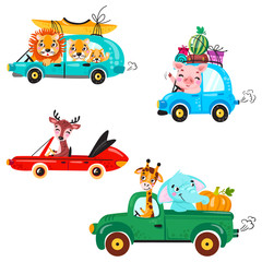 Garden Poster Cartoon cars Set of kids transport with lion, boat, canoe, giraffe, elephant, deer, watermelon and gifts. Cute animals ride on the car. Vector illustration isolated on white background