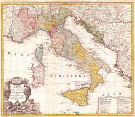 1742, Homann Heirs Map of Italy