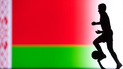 Belarus National Flag. Football, Soccer player Silhouette