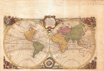 Fototapete - 1744, Bowen Map of the World in Hemispheres