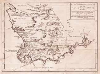 1757, Bellin Map of South Africa and the Cape of Good Hope
