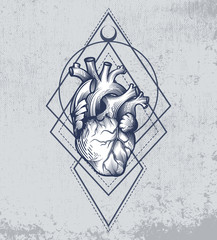 Human heart in engraving technique with sacred geometry on grunge background. Anatomically correct hand drawn line art. Tattoo, tee shirt print design. Vector illustration.