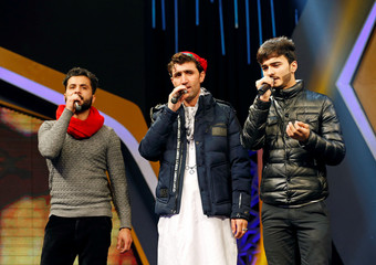 """Abdul Salam Maftoon performs during rehearsals in the """"Afghan Star"""" talent show at Tolo TV studio in Kabul"""